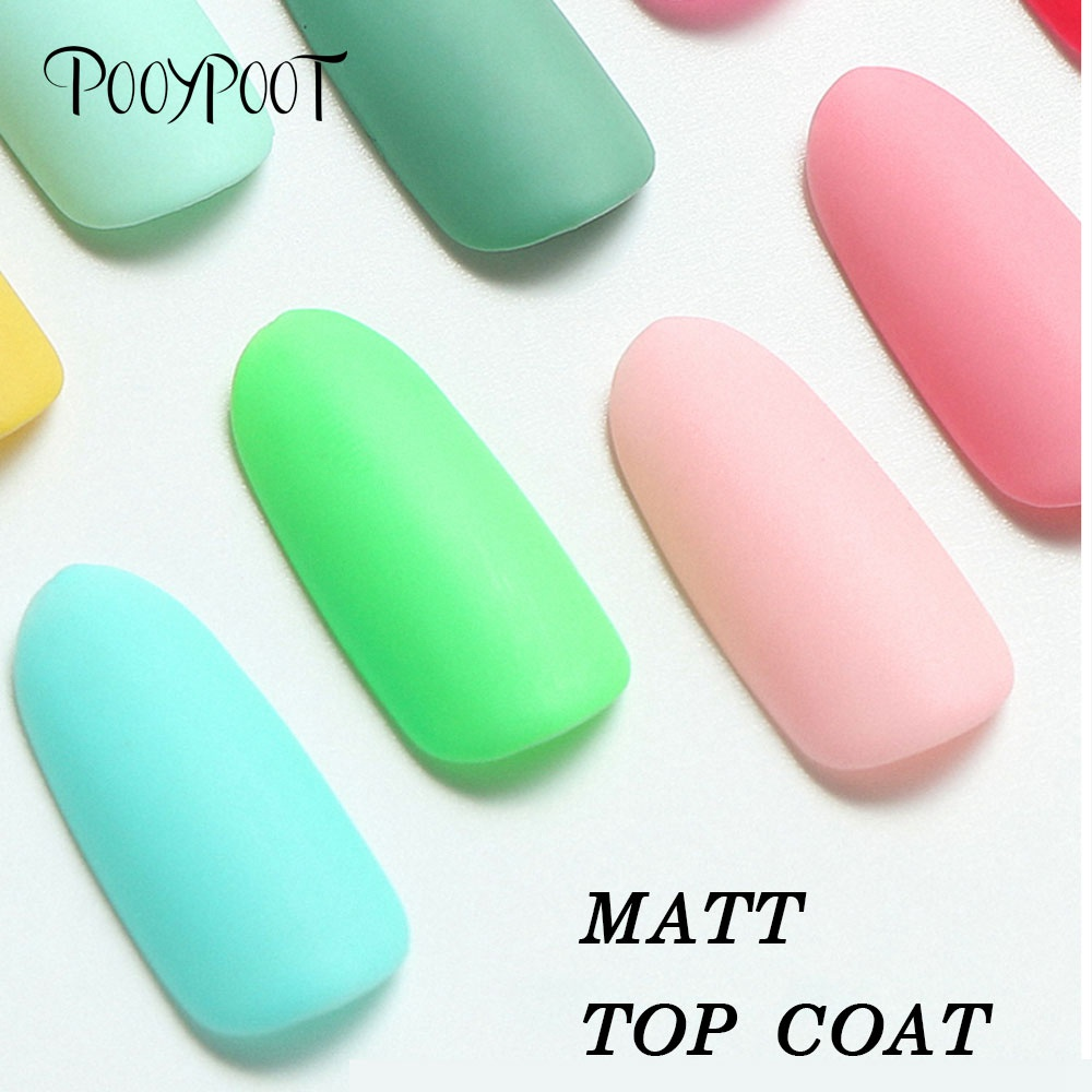 Pooypoot Matte Top Coat Soak Off Led UV Gel Nail Polish Frosted Surface Nail Art Finish Tips Matt Top Gel Lacquer Nails Primer in Nail Gel from Beauty Health