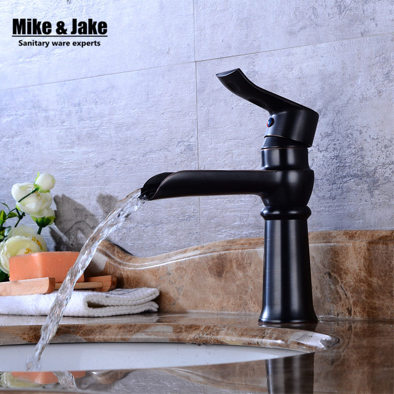 Free shipping Black Waterfall faucet Crane ORB Bathroom basin Faucet Bathroom Basin Mixer Tap with Hot and Cold mixer FH89625