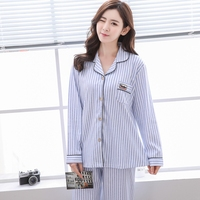 Plus Size 2018 100 Cotton Pajamas Sets For Women Spring Long Sleeve Pyjamas Sleepwear Casual Home