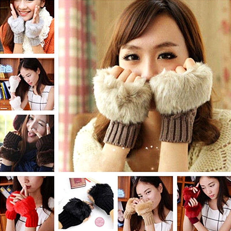 Fas Autumn winter knitting warm half finger fingerless female gloves wool wrist hand wrist fur exposed touch screen short gloves