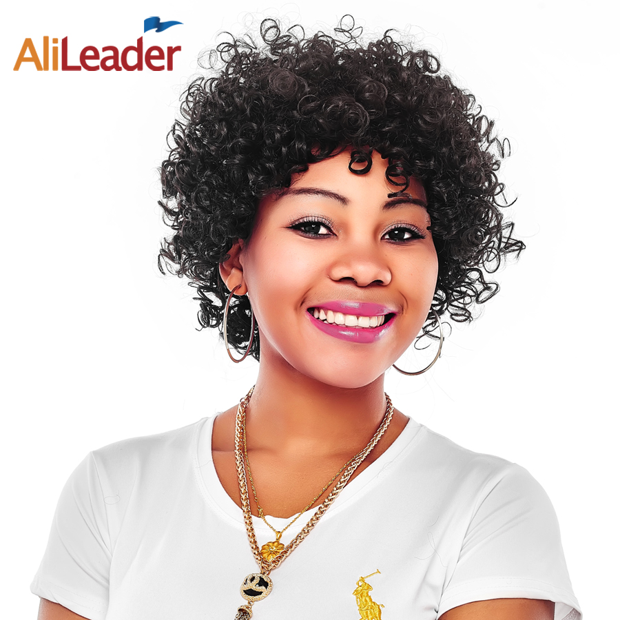 Alileader Short Synthetic Wigs For Black Women Color 1B 100% Kanekalon Wigs Small Jerry Curly African American Wigs With Bangs