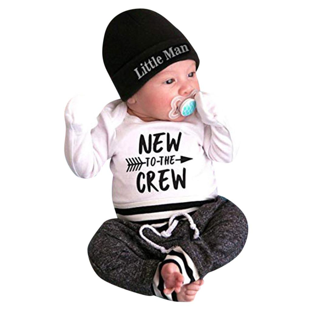 a1f55e5e3 Newborn Baby Boy Clothes Letter Print Romper Tops +Long Pants+Hat ...