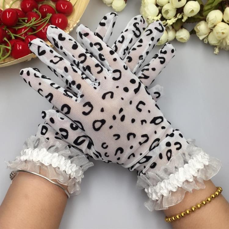 Spring And Summer Women's Leopard Print Thin Elastic Lace Gloves Lady's Casual Lace Dance Summer Sunscreen Gloves