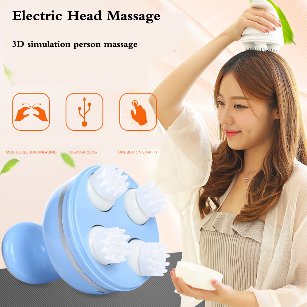 New Portable Electric Head Massage 3D cervical massager use charging 4 heads scalp massager device for head massage &relaxation electronic 8 mode 4 head slimming massager w 4 massage pads white 2 x aaa
