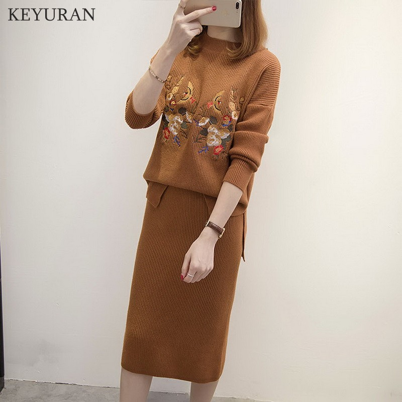 bb5671264f147 Autum Winter New Floral Bird Embroidery Knit Skirts Suit Women Long-sleeve  Sweater And Skirt