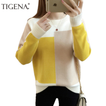 Simplee Turtleneck knitted sweater women Casual loose long pullover female Winter