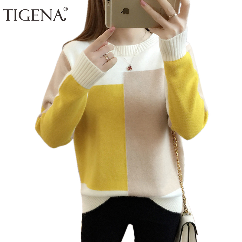 TIGENA Beautiful Contrast Color Knitted Sweater Female 2019 Winter Long Sleeve Jumper Women Sweaters And Pullovers Pull Femme