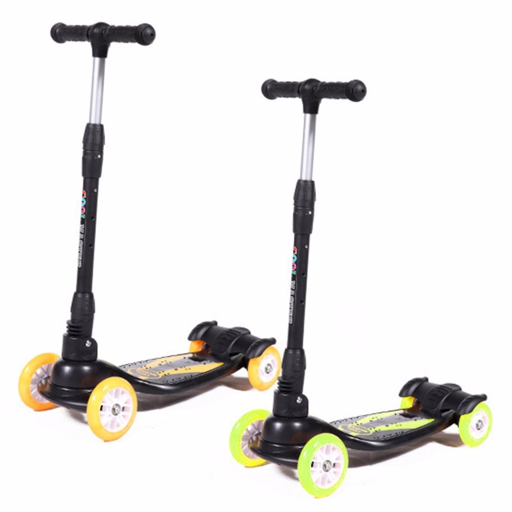 Foldable Design Children Kids 4 Wheels Outdoor Playing Scooter Flashing Aluminum Alloy Scooter Bicycle Toy Best Gift three flashing wheels children scooter gravity steering foldable free installation for toddler kids walker outdoor free shipping