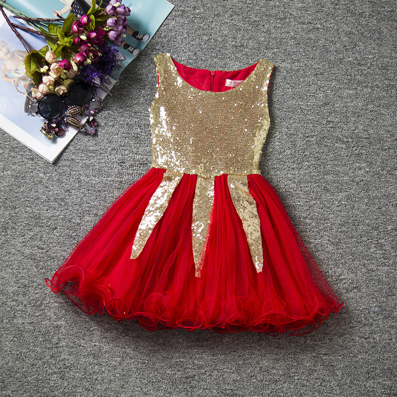 High End Girl Party Dress Princess Tutu Dress Sequined Wedding Dress for Girls New Years Xmas Christmas Costume Red Girl Dress