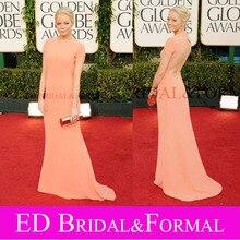 Emma Stone Orange Kleid bei Golden Globe Roter Teppich Kurzarm Promi Abendkleid Formales Abschlussball-kleid vestido de festa longo