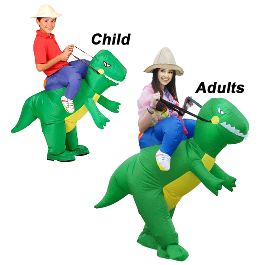 Novelty Parent Child Dinosaur Cosplay Costumes Fake Rider Blow Up Inflatable Toys Carry Me Costume Dinosaur Ride Fancy Dress novelty run around wake up n catch me digital alarm clock on wheels white 4 aaa