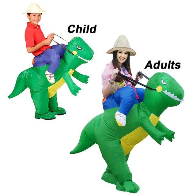 Novelty Parent- children Dinosaur Cosplay Costumes Fake Rider Inflatable Fancy Dress