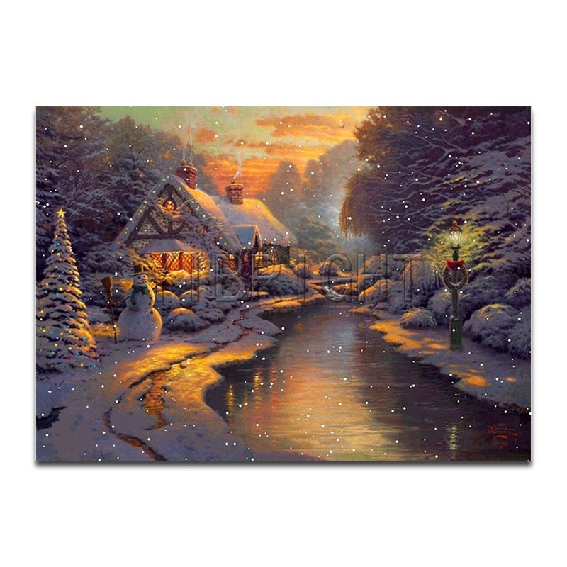 5D DIY Diamond Embroidery Christmas Winter Snowman Scenic Diamond Painting Cross Stitch Houses River Crystal Mosaic Kits Gift YH