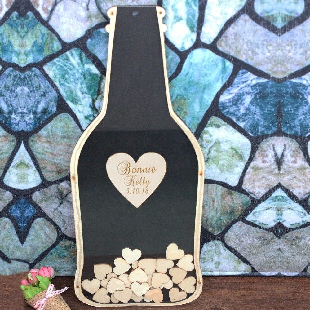 Personalizzato Bottiglia di Forma di Libro Degli Ospiti di Nozze, Rustico Casella di Riepilogo Libro Firma Telaio, Cuori di Legno Su Ordinazione Guestbook, decorazione di cerimonia nuziale
