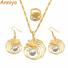 Anniyo PNG Pearl Bird Pendant Necklaces Earrings Free Size Ring Papua New Guinea Traditional Ornament Jewellery Gifts #144006GY(China)