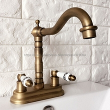 Antique Brass Bathroom Basin Sink Faucet Double Handle Basin Vessel Double Hole Sink Mixer Tap Counter Basin Faucet Nan067 azos split faucetsoft basin brass orb cold and hot switch rotatable bathroom below counter basin balcony double handle three hol