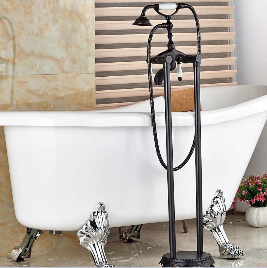 free shipping floor mounted faucet bathroom bath clawfoot bathtub filter tub freestanding shower sprayer 019