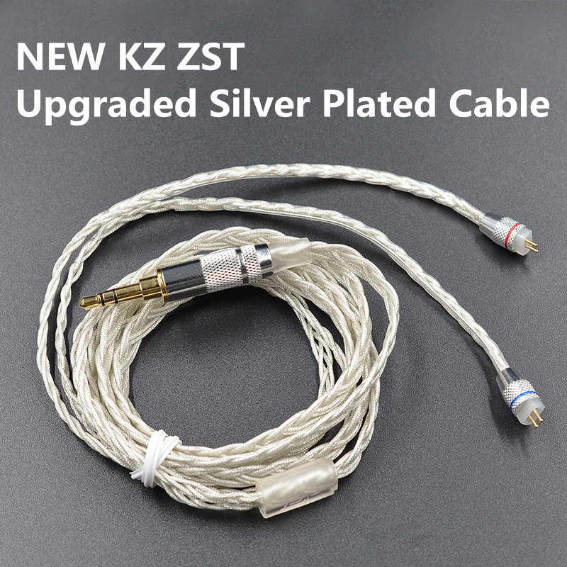 Upgraded Plated Silver Cable 0.75mm 2PIN Upgrade Repair Silver Plated Cables for TRN V10 TRN V20 KZ ZS6 ZST KZ ZSR RT-1 TFZ ZS10