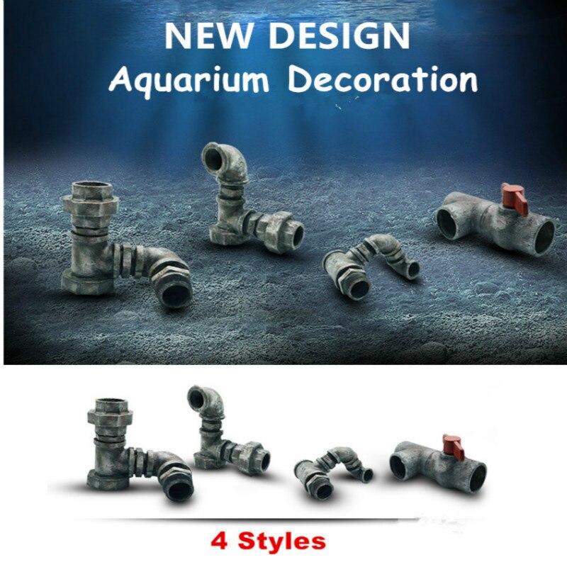 Nueva 4 tamaño resina Artificial alcantarillado pecera decoración del acuario Rock Cave piedra ornamento para pescado Camarón ocultar refugio