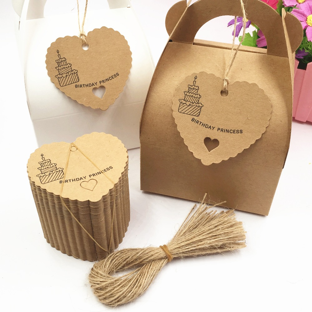 200pcs Small Heart Brown Paper Tags, Gift Tag, Wedding