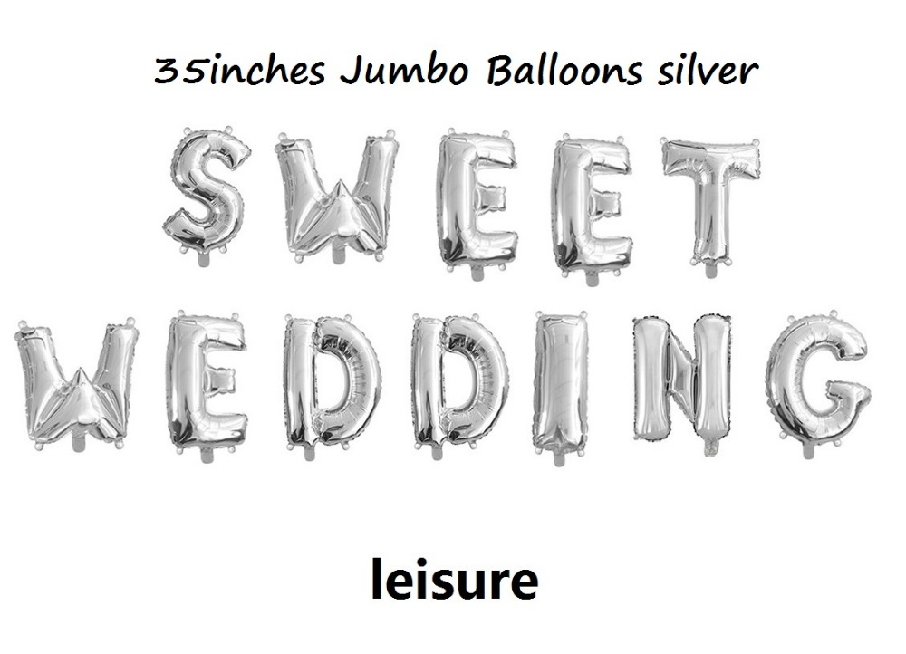 1 lot mylar balloons sweet wedding silver foil letter balloon 35incheschina