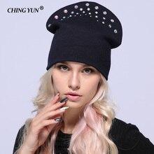 Invierno mujer de punto sombreros de señora calientes diamante sólido  grueso grande de diamantes de alta calidad de lana mujer s. efba5e51078