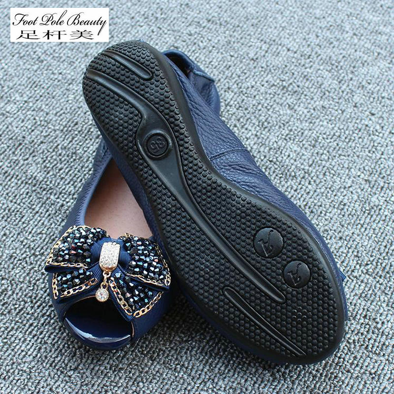 2018 New Rhinestone bow flat low cut fish mouth shoes mother shoes soft Genuine leather women