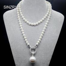 SINZRY colliers de chandails longs, bijoux exquis AAA, zircon cubique, imitation de perles, accessoires de fête coréenne
