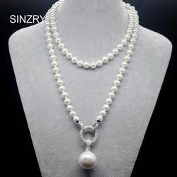 SINZRY exquisita joyería AAA zirconia cúbica imitación perla colgante largo suéter collares coreano fiesta joyería accesorio