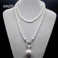 SINZRY exquisite schmuck AAA kubikzircon simulierte perle anhänger lange pullover halsketten Koreanischen Partei schmuck zubehör