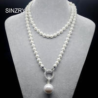 Hotsale Elegant Jewelry AAA Cubic Zircon Simulated Pearl Pendant Long Sweater Necklaces Korean Party Jewelry Accessory