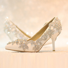 spring white rhinestone wedding shoes high-heeled bridal shoes elegant thin heels pumps pointed toe high heel shoes