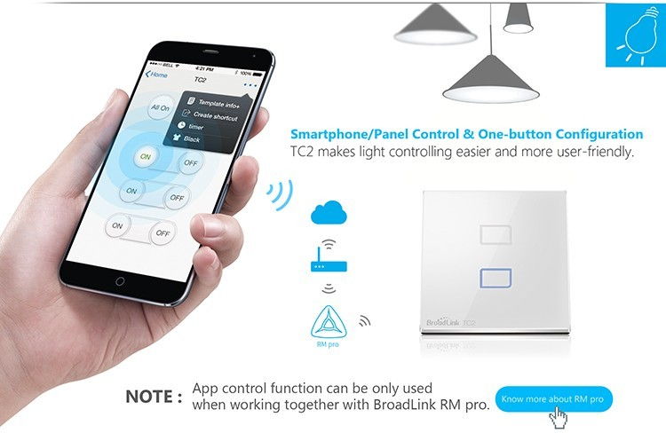 7-Broadlink TC2 2Gang Wifi Wall Light Smart Switch RF433MHZ Wireless Remote Control Smart Home Automation System Via Android IOS