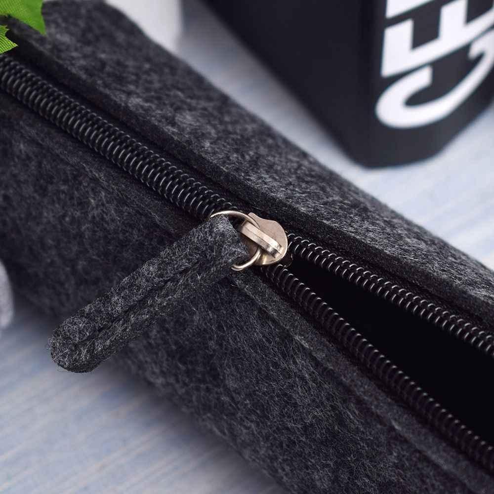 ISKYBOB 새로운 패션 라운드/광장 펠트 메이크업 화장품 가방 학생 지퍼 펜 연필 케이스 파우치 박스 휴대용 여행 액세서리