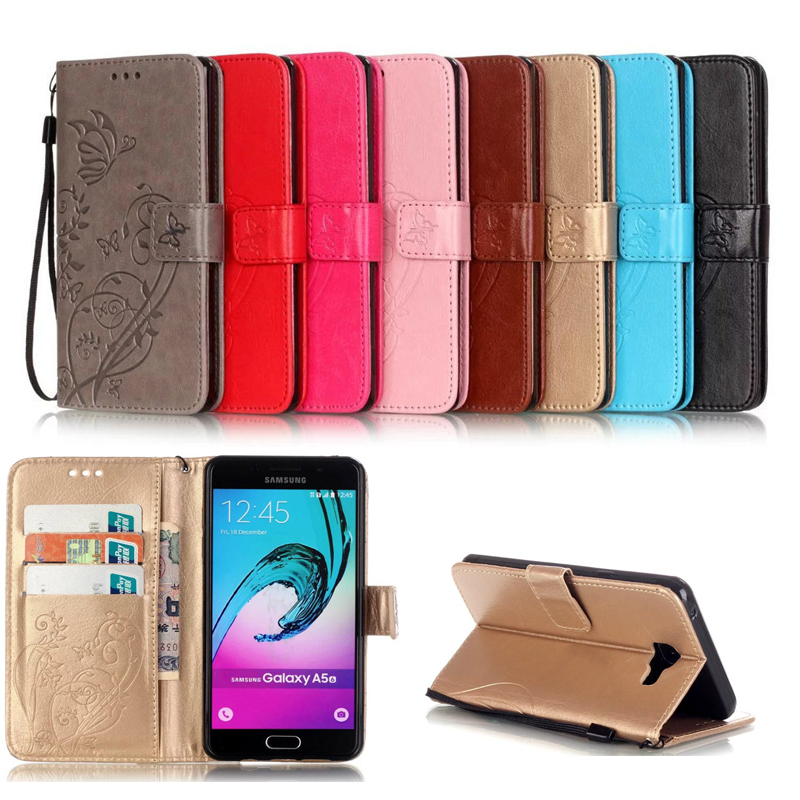 For <font><b>Samsung</b></font> A3 <font><b>A5</b></font> 2015 <font><b>Case</b></font> Embossed butterfly Magetic Card Slot Leather Wallet For Cover <font><b>Galaxy</b></font> 2016 A310 A510 <font><b>A520</b></font> A320 2017 image