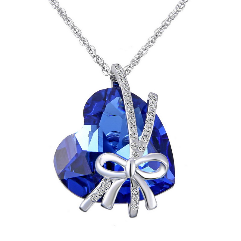8 Styles Saint Valentine's Day Gifts Necklaces For Lover Couple Pendants With Box Bijouterie Austria Crystals Heart Love Jewelry Bright Luster