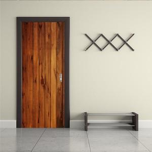 Image 2 - 2pcs/set Wood Door Wall Stickers Bedroom Home Decoration Poster PVC Waterproof Door Stickers Imitation 3D Decal