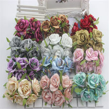 Autumn 6pcs / Bouquet Bud Rose Silk Flower Decoration Home Wedding