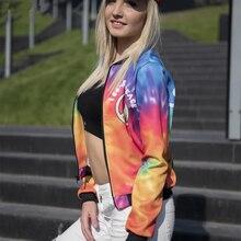 Women Bomber Jacket Colorful Rainbow