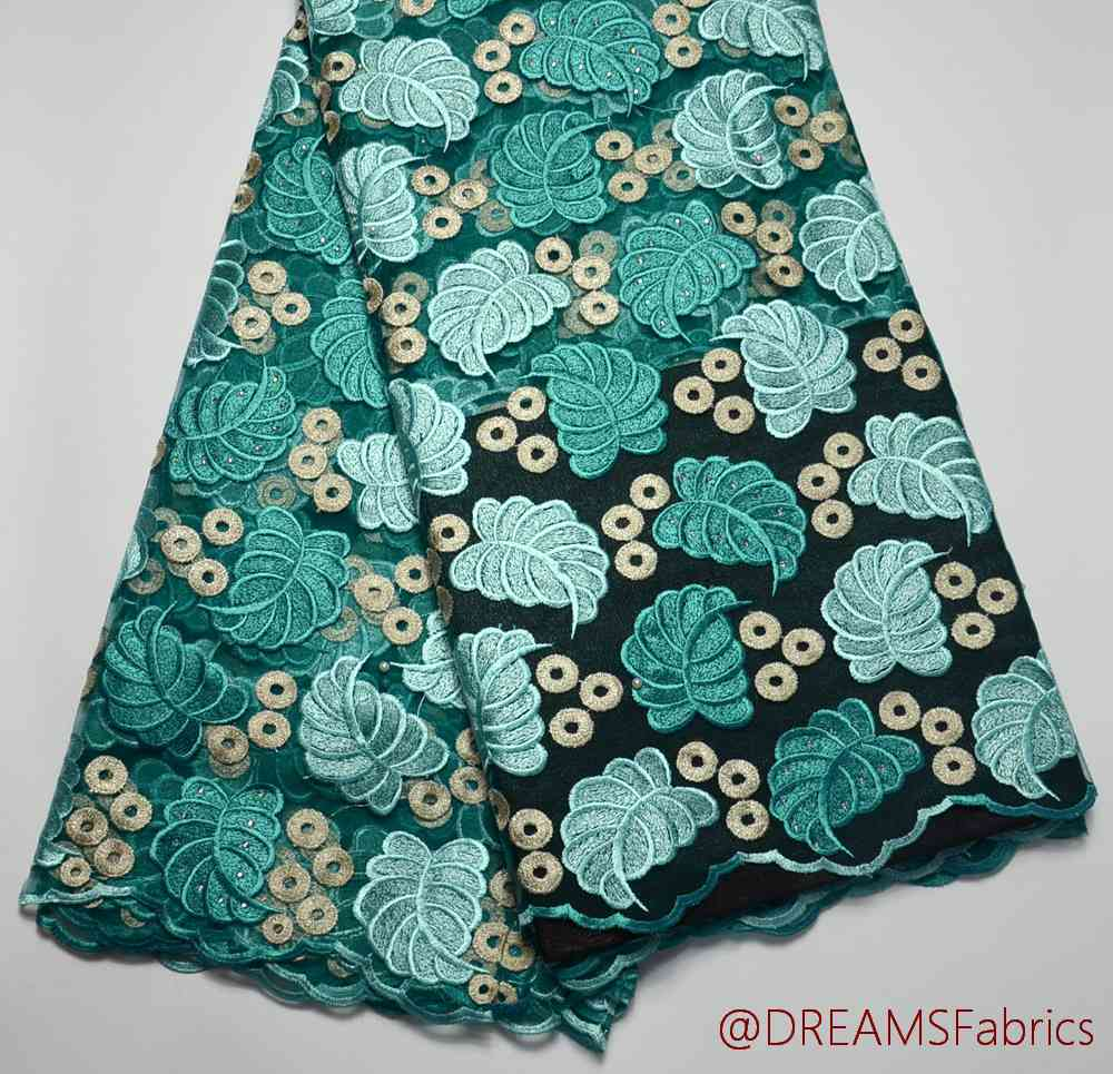 Latest High Quality Nigeria design aqua+mint African Tulle wedding lace fabric 5 yards For traditional weddingLatest High Quality Nigeria design aqua+mint African Tulle wedding lace fabric 5 yards For traditional wedding