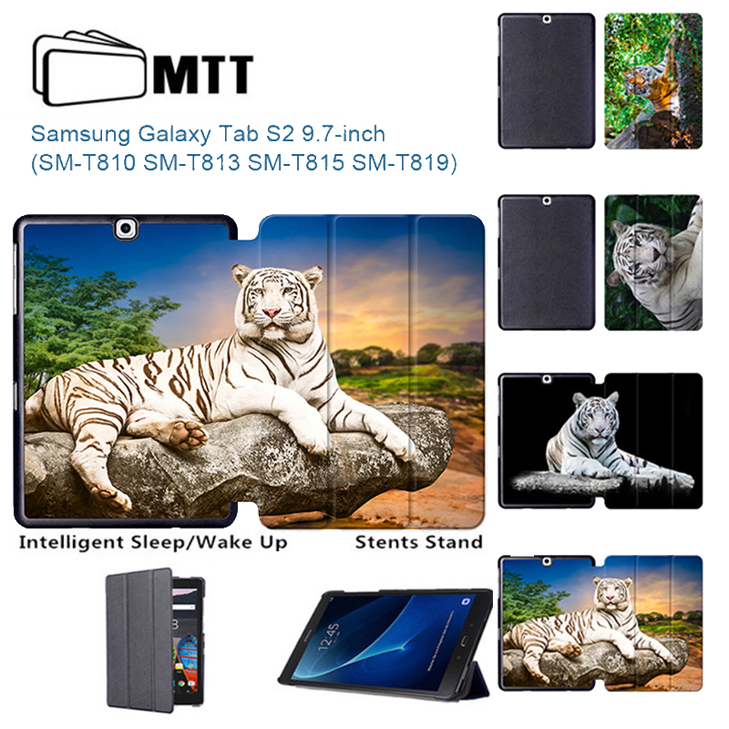 MTT Tab S2 9.7 Universal Flip PU Leather Stand Case Tiger painted Cover for Samsung Galaxy Tab S2 9.7 SM-T810 T815 Funda tablet цена