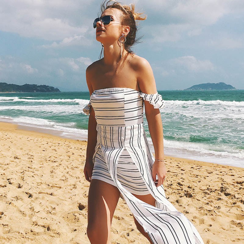 0cdc747ad13 Off shoulder Striped long Bohemian maxi dress boho women clothing summer  sundress sexy wrap Strapless vintage print beach tunics-in Dresses from  Women s ...