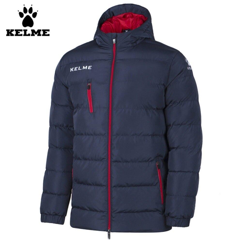 Kelme K15P010 hommes plein air hiver moyen-long col montant à capuche fermeture éclair doudoune rouge marine