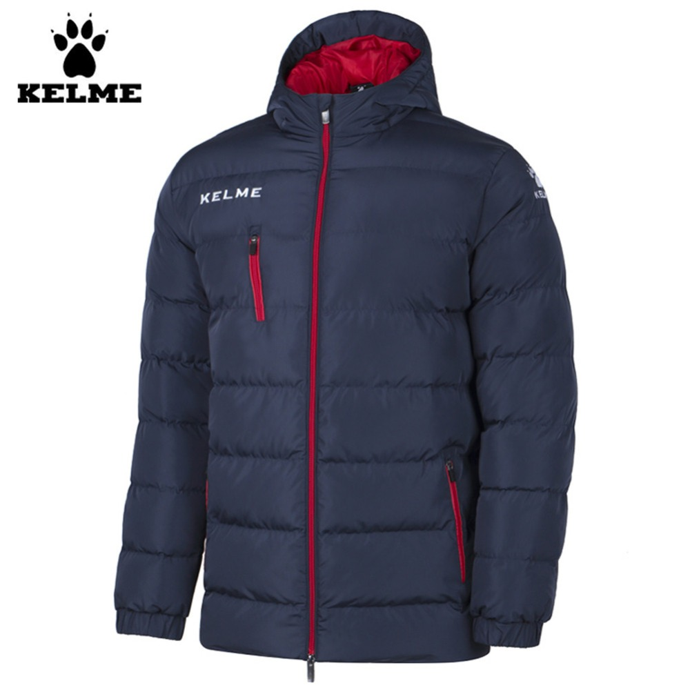 Kelme K15P010 Men Outdoor Winter Medium-long Stand Collar Hooded Zipper Down Jacket Navy Red куртка everlast hooded bubble navy купить