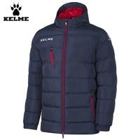 Kelme K15P010 Men Outdoor Winter Medium long Stand Collar Hooded Zipper Down Jacket Navy Red