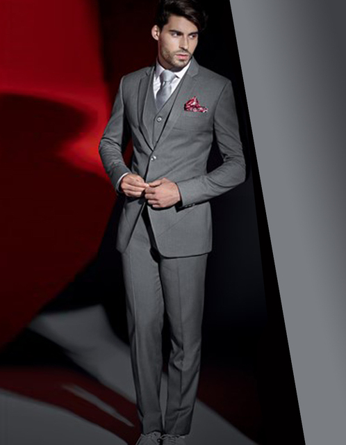 India Hot Grey Slim Two Button Three Pockets Groom Tuxedos Wedding ...