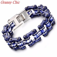 Granny Chic 8 86 18mm HEAVY Boys Mens Chain Silver Blue Tone Biker Motorcycle Link 316L