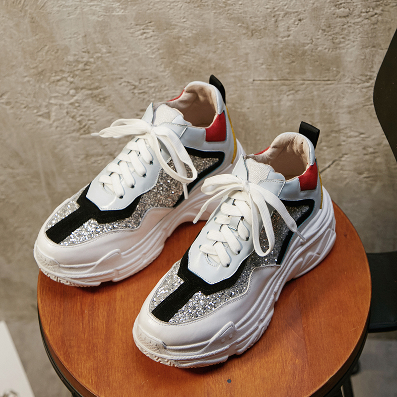 scarpe zeppe pelle genuino bianco piatto Espadrillas Doratasia moda argento donna due per papà 2019 stile ragazza grigie bovina Nuovo RgHqw0Bxa