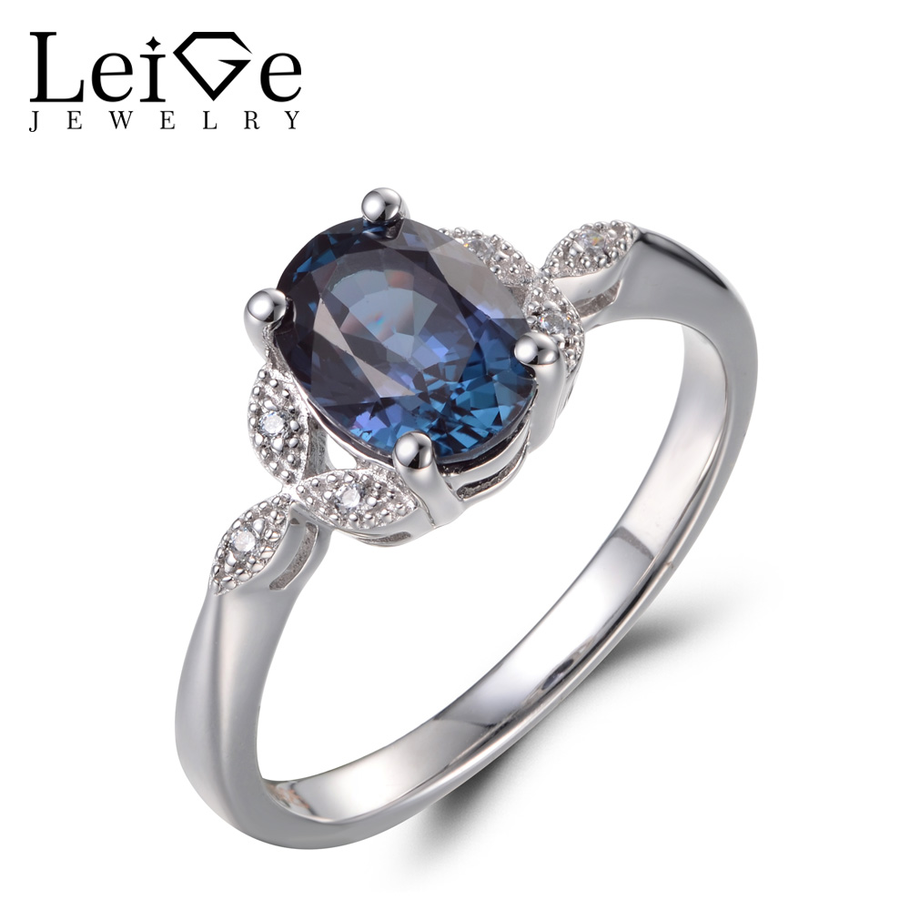 Leige Jewelry Alexandrite Rings Anniversary Rings Oval Cut Color Changing Gemstone 925 Sterling Silver June Birthstone Gifts