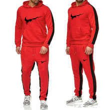 Brand mens fashion casual sports pullover cotton wool hoodie two-piece + pants suit